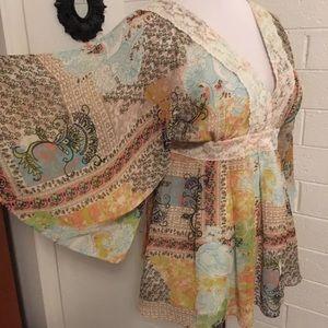 American Rag Cie Long Sleeve Sheer Floral Top Sz M